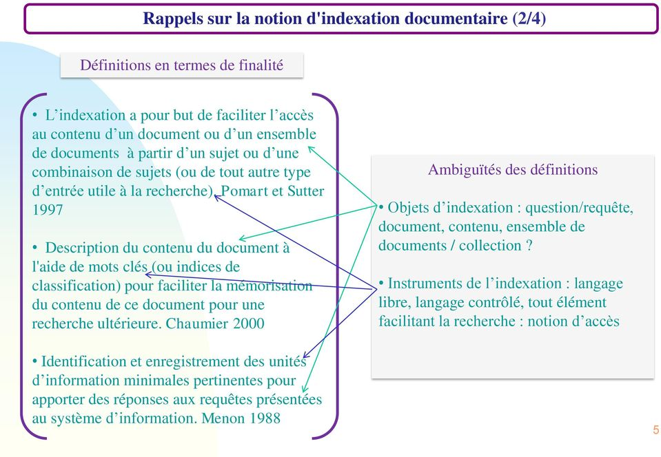 Pomart et Sutter 1997 Description du contenu du document à l'aide de mots clés (ou indices de classification) pour faciliter la mémorisation du contenu de ce document pour une recherche ultérieure.