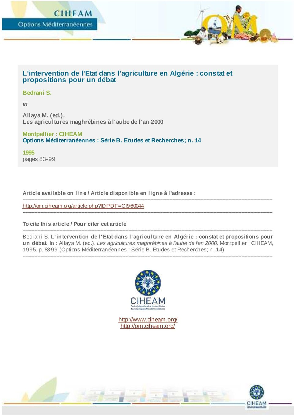 14 95 pages 83-99 Article available on line / Article disponible en ligne à l adresse :