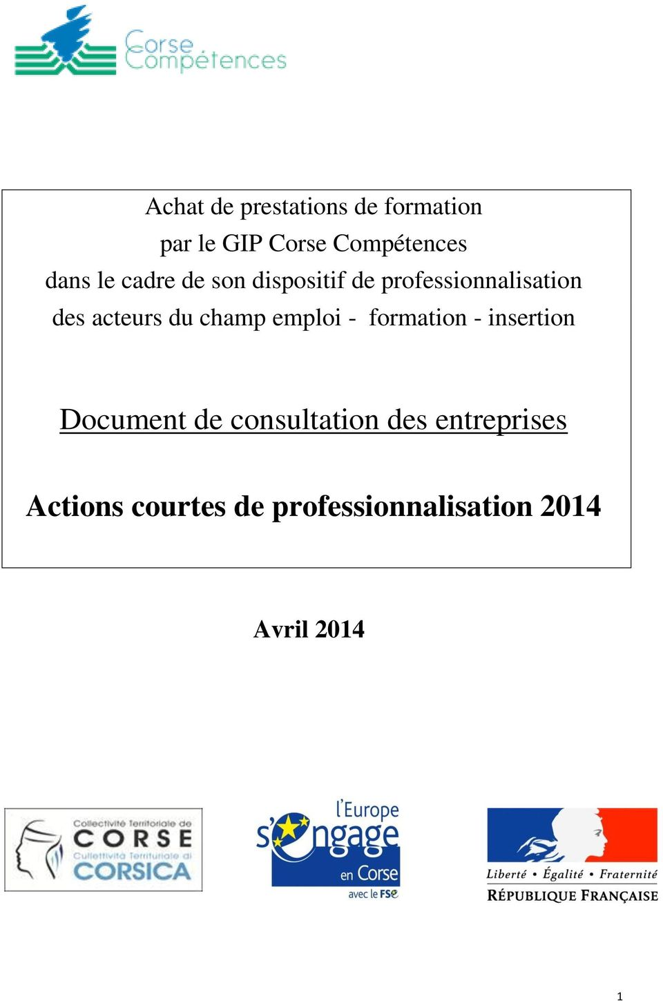 champ emploi - formation - insertion Document de consultation des