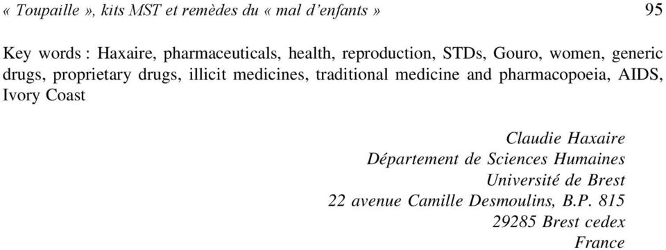 traditional medicine and pharmacopoeia, AIDS, Ivory Coast Claudie Haxaire Département de