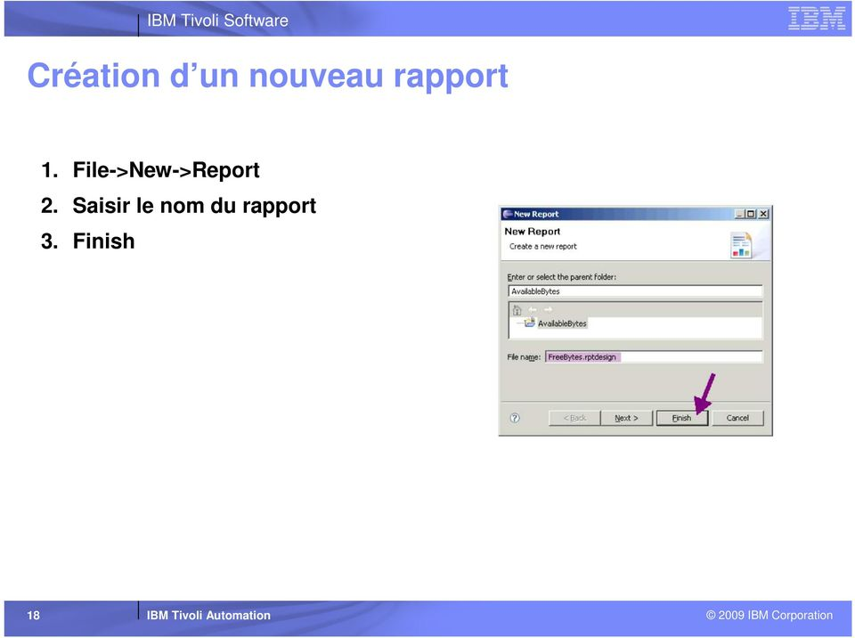 File->New->Report 2.