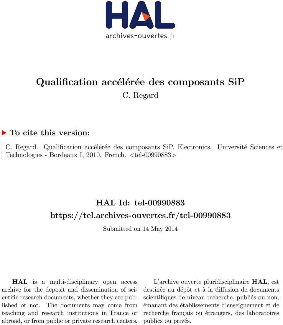 fr/tel-00990883 Submitted on 14 May 2014 HAL is a multi-disciplinary open access archive for the deposit and dissemination of scientific research documents, whether they are published or not.