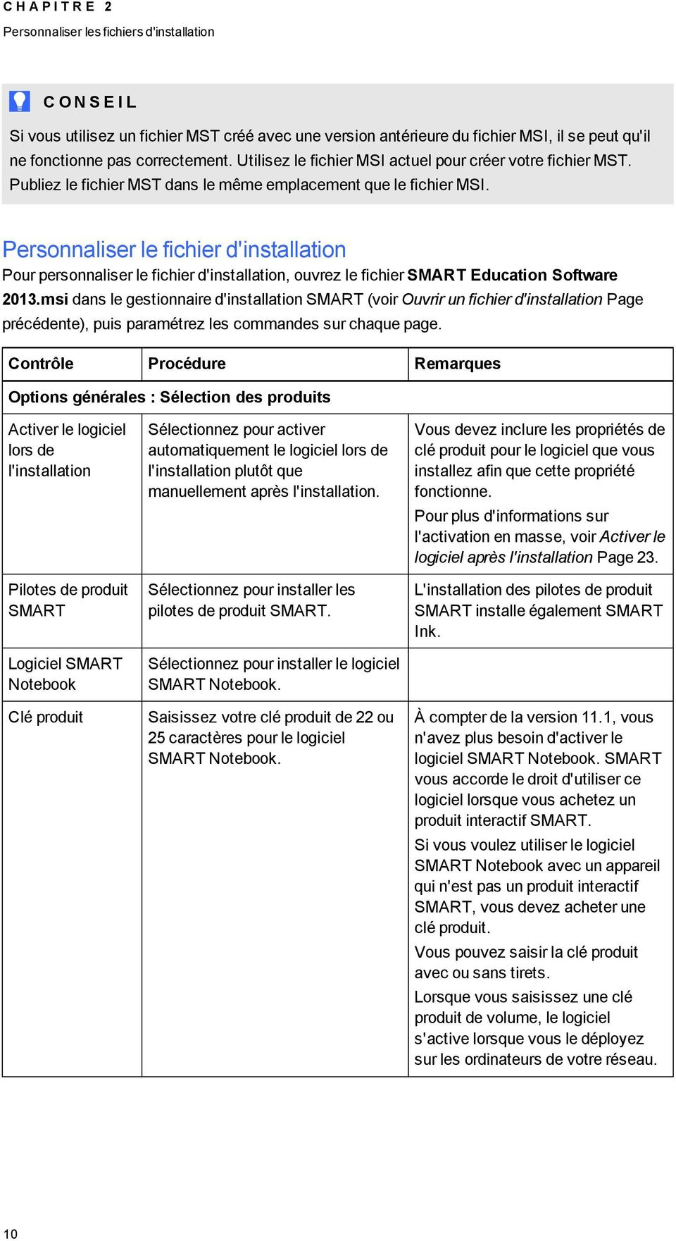 Persnnaliser le fichier d'installatin Pur persnnaliser le fichier d'installatin, uvrez le fichier SMART Educatin Sftware 2013.