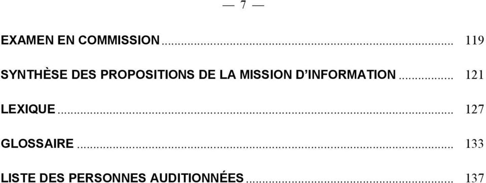 MISSION D INFORMATION... 121 LEXIQUE.