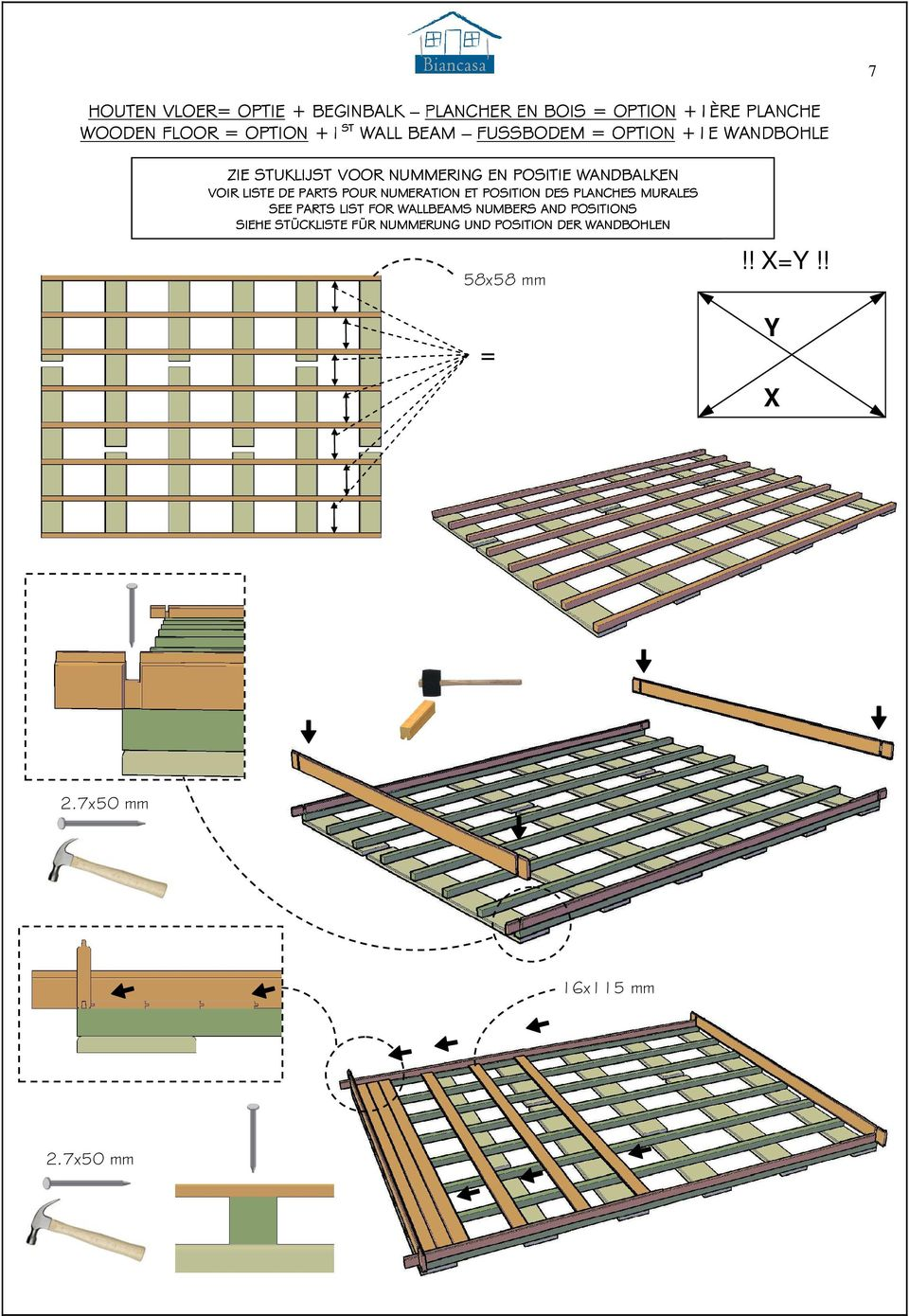 LISTE DE PARTS POUR NUMERATION ET POSITION DES PLANCHES MURALES SEE PARTS LIST FOR WALLBEAMS NUMBERS