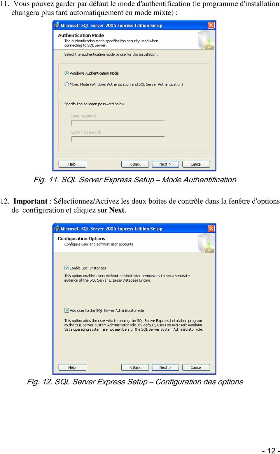 SQL Server Express Setup Mode Authentification 12.