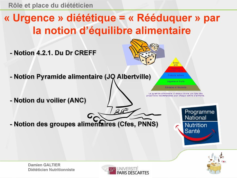 Du Dr CREFF - Notion Pyramide alimentaire (JO