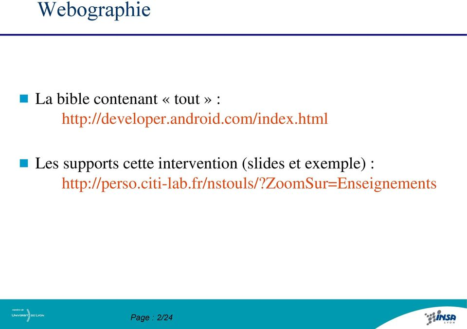 html Les supports cette intervention (slides et