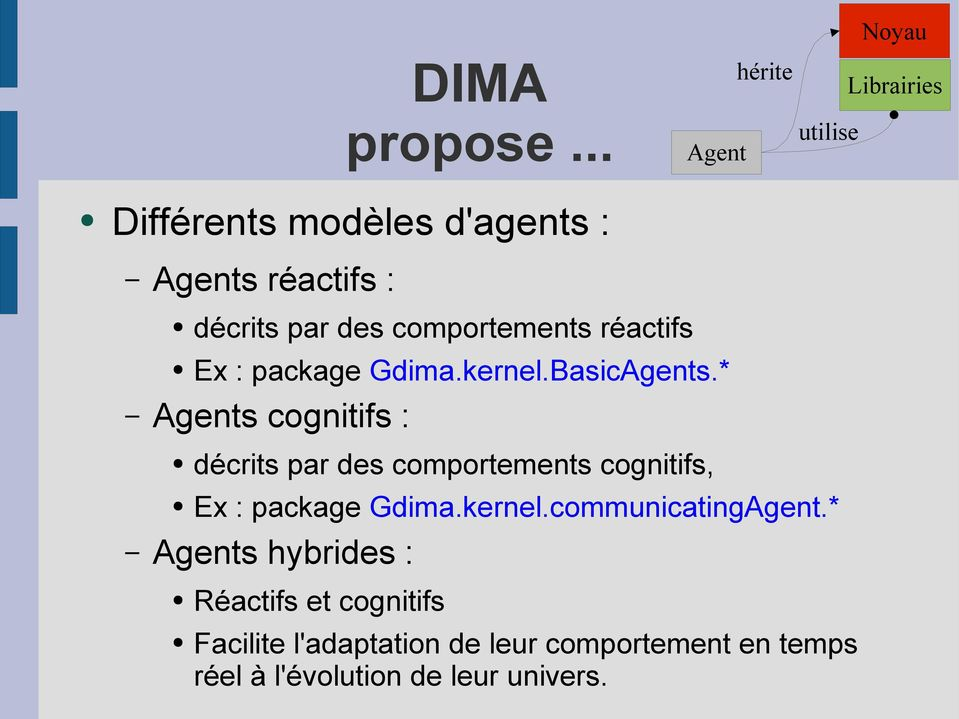 comportements réactifs Ex : package Gdima.kernel.BasicAgents.
