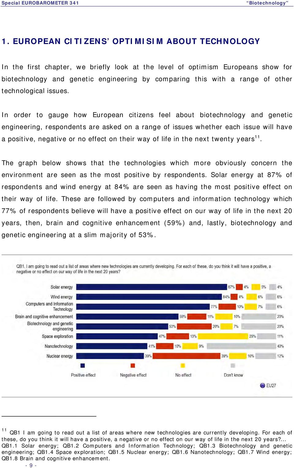 In order to gauge how European citizens feel about biotechnology and genetic engineering, respondents are asked on a range of issues whether each issue will have a positive, negative or no effect on