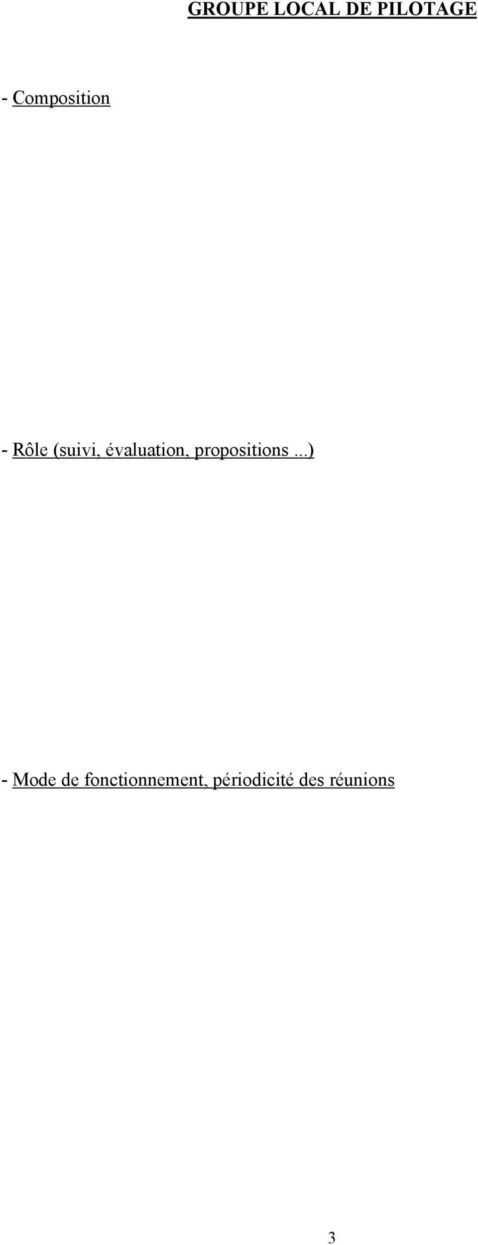 évaluation, propositions.