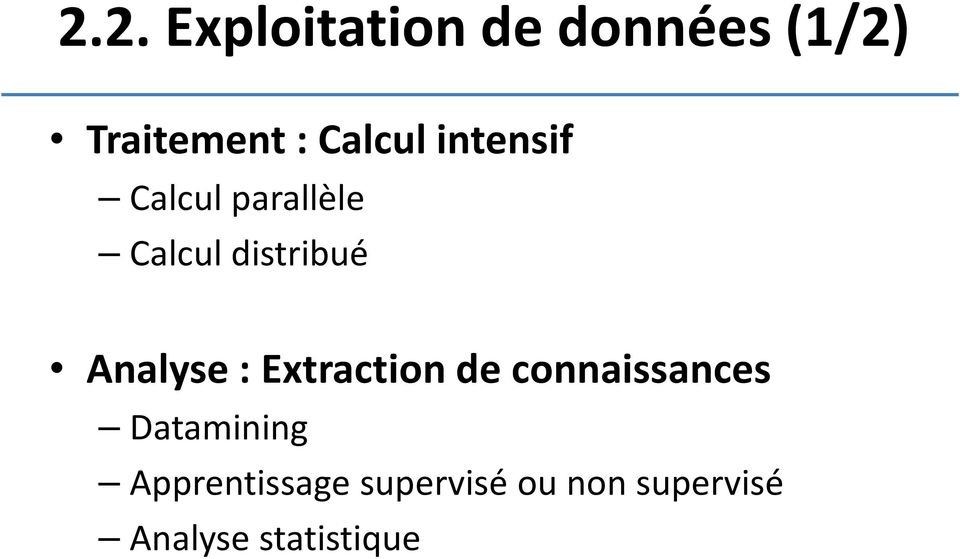 Analyse : Extraction de connaissances Datamining