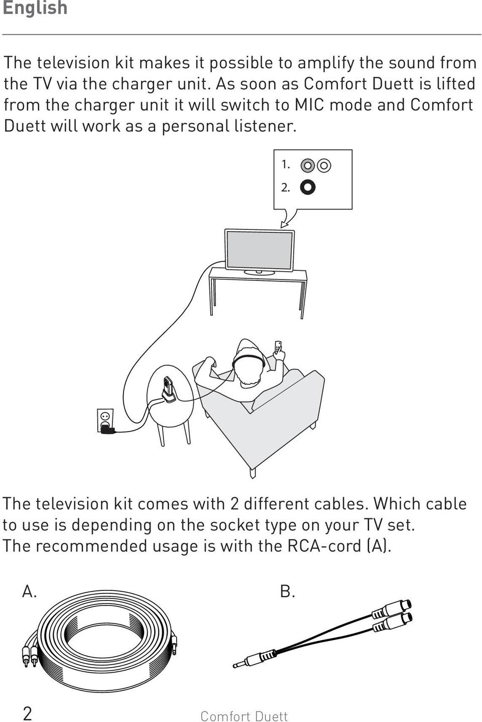 work as a personal listener. 1. 2. The television kit comes with 2 different cables.