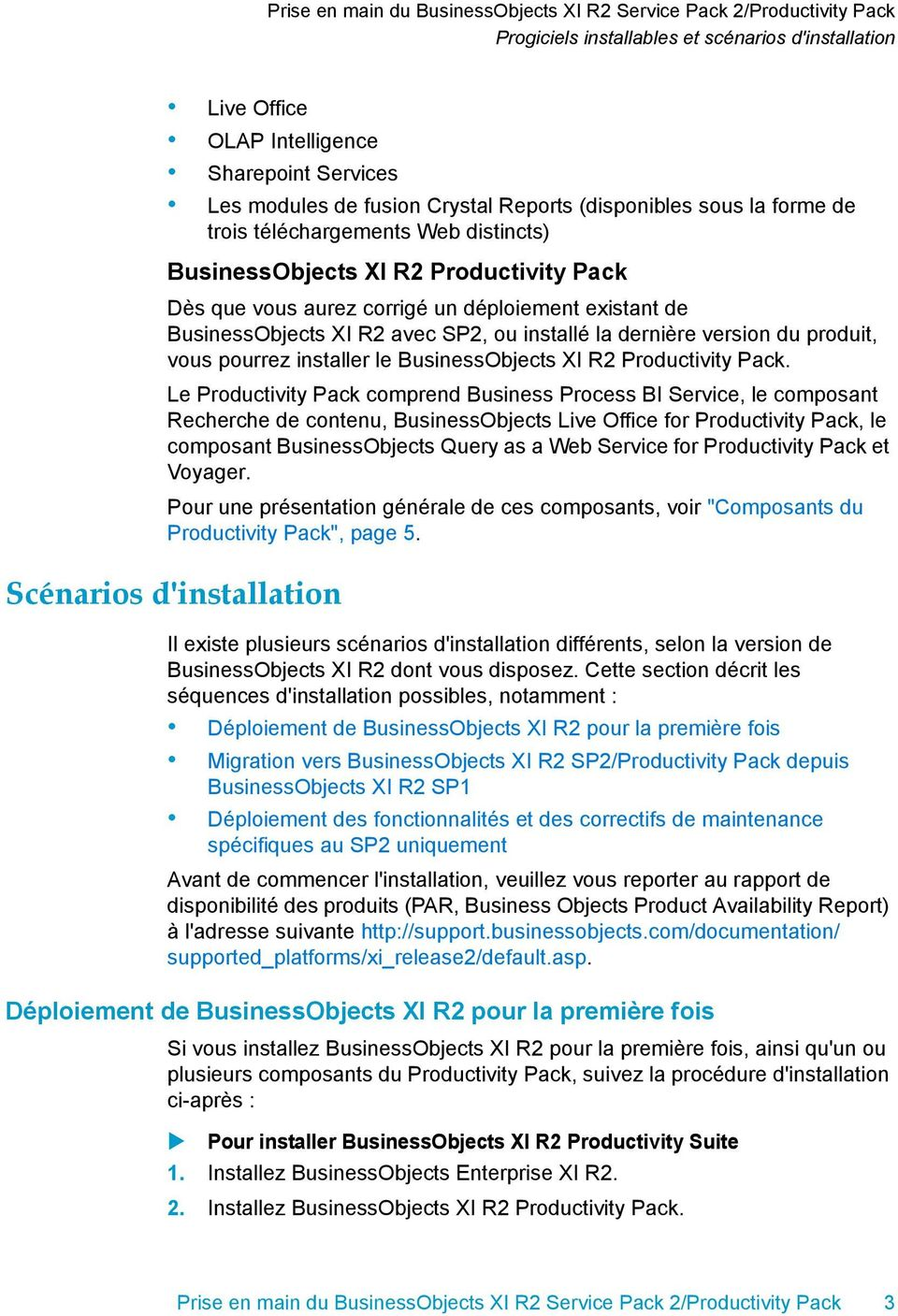 installer le BusinessObjects XI R2 Productivity Pack.