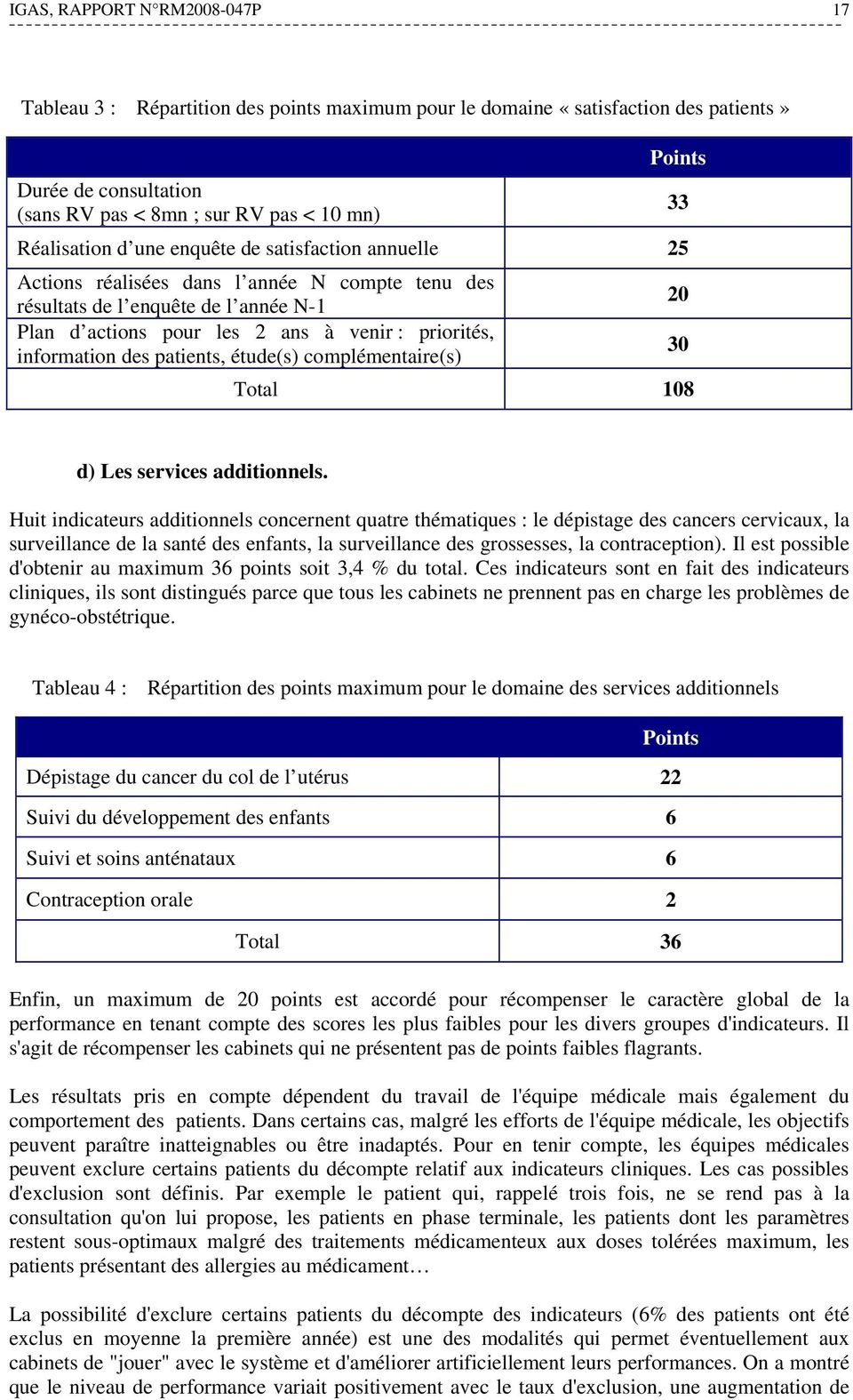 patients, étude(s) complémentaire(s) Total 108 33 20 30 d) Les services additionnels.