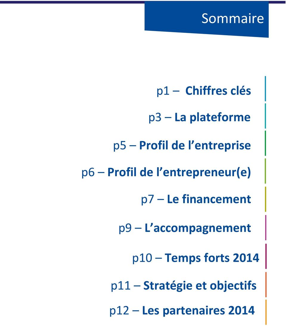 financement p9 L accompagnement p10 Temps forts 2014