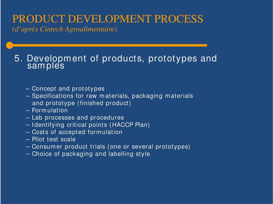 packaging materials and prototype (finished product) Formulation Lab processes and procedures Identifying