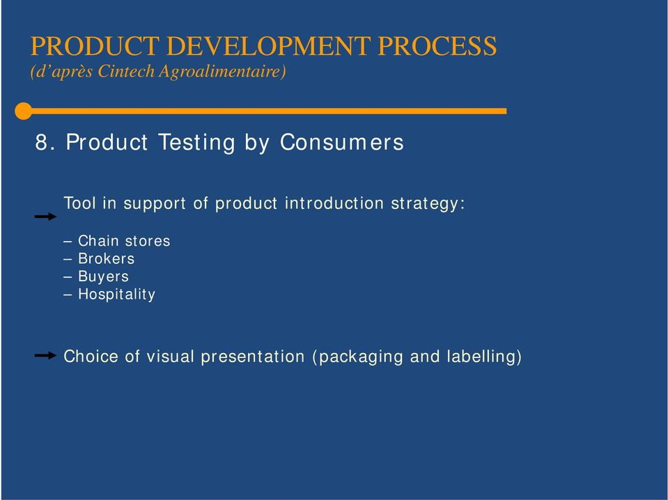 Product Testing by Consumers Tool in support of product