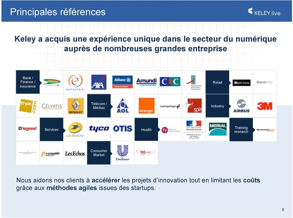 Industry Bank / Finance / Insurance Services Health Training research Consumer Market Nous aidons nos