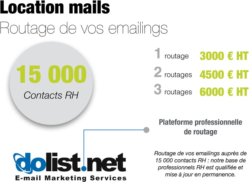 de routage Routage de vos emailings auprès de 15 000 contacts RH :