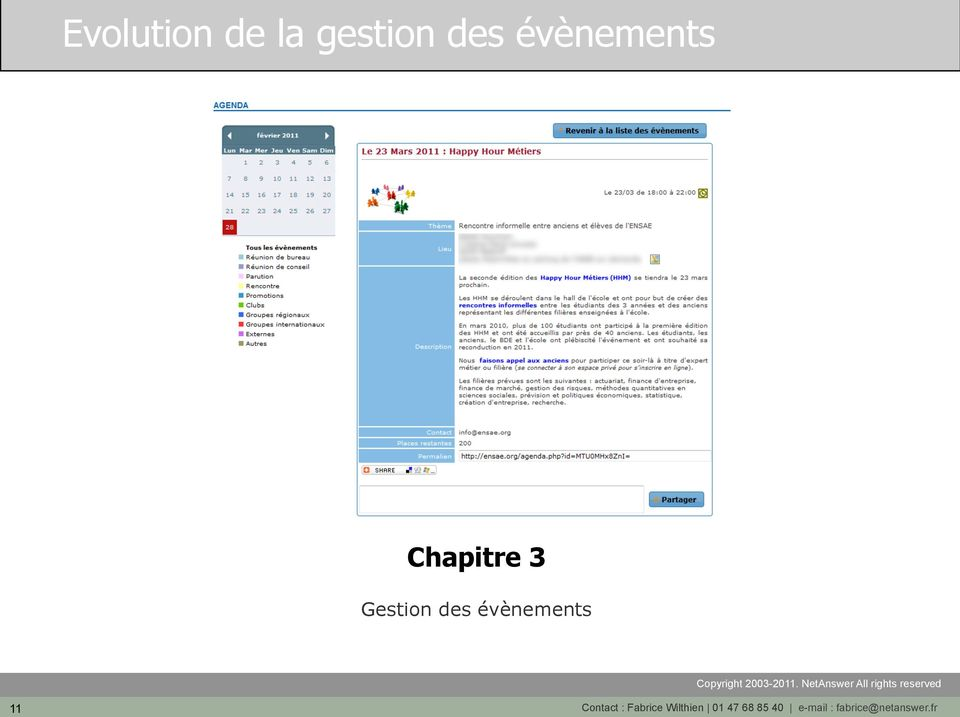 évènements 11 Contact : Fabrice