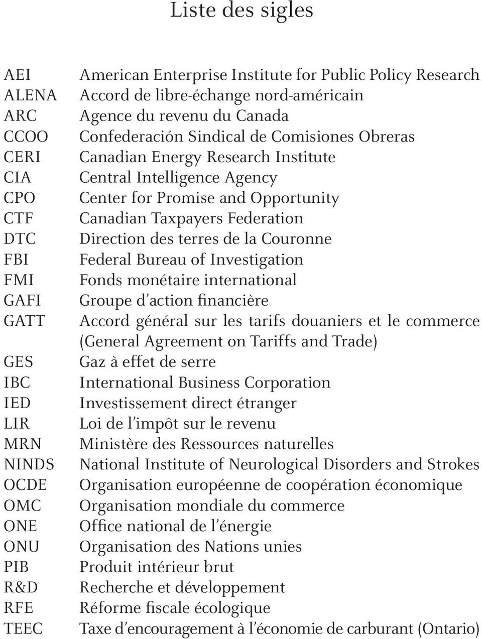 Opportunity Canadian Taxpayers Federation Direction des terres de la Couronne Federal Bureau of Investigation Fonds monétaire international Groupe d action financière Accord général sur les tarifs