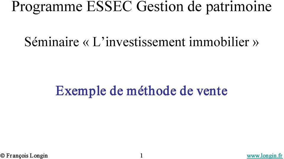 investissement immobilier» Exemple