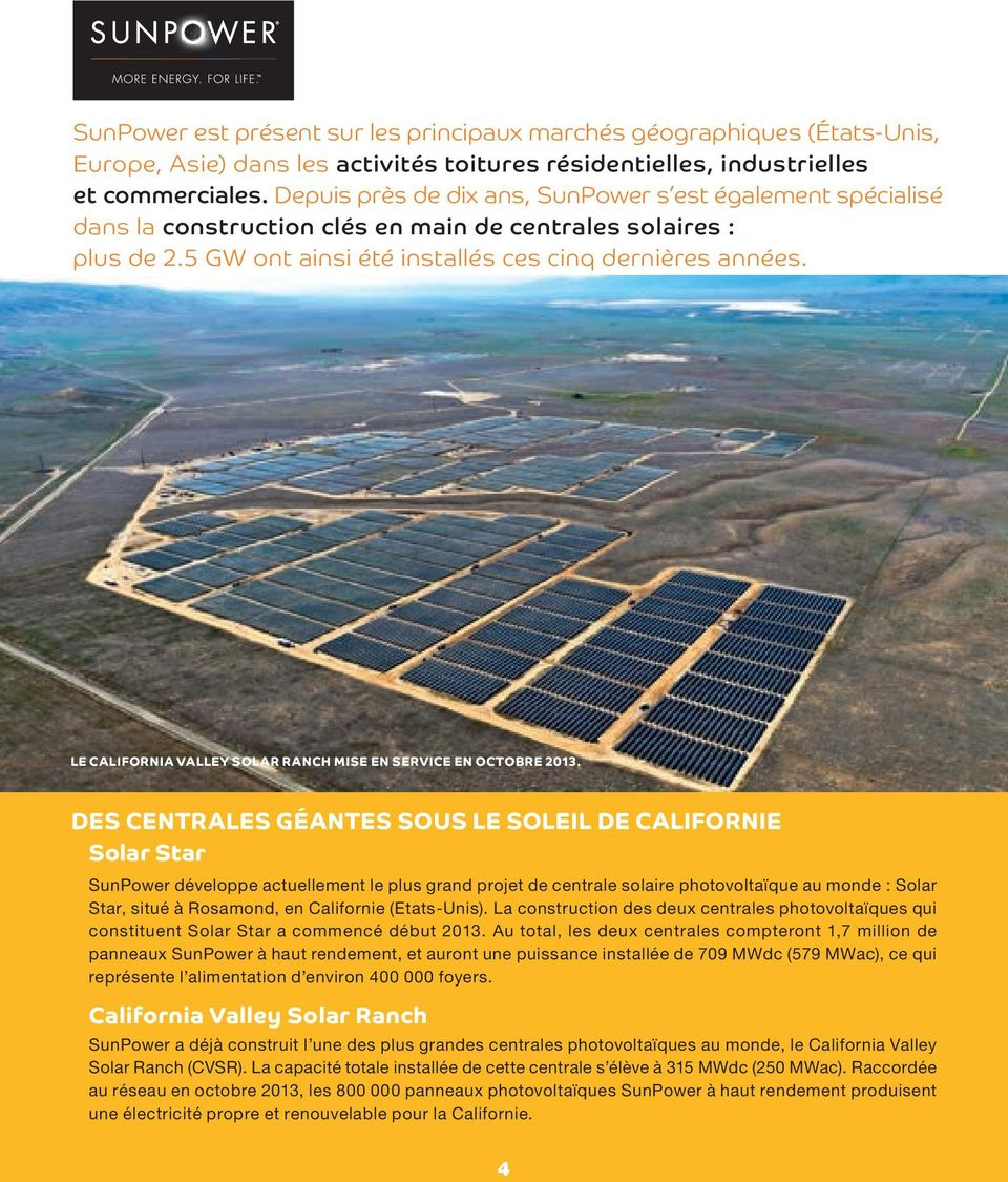 LE CALIFORNIA VALLEY SOLAR RANCH mise EN SERVICE EN OCTOBRE 2013.
