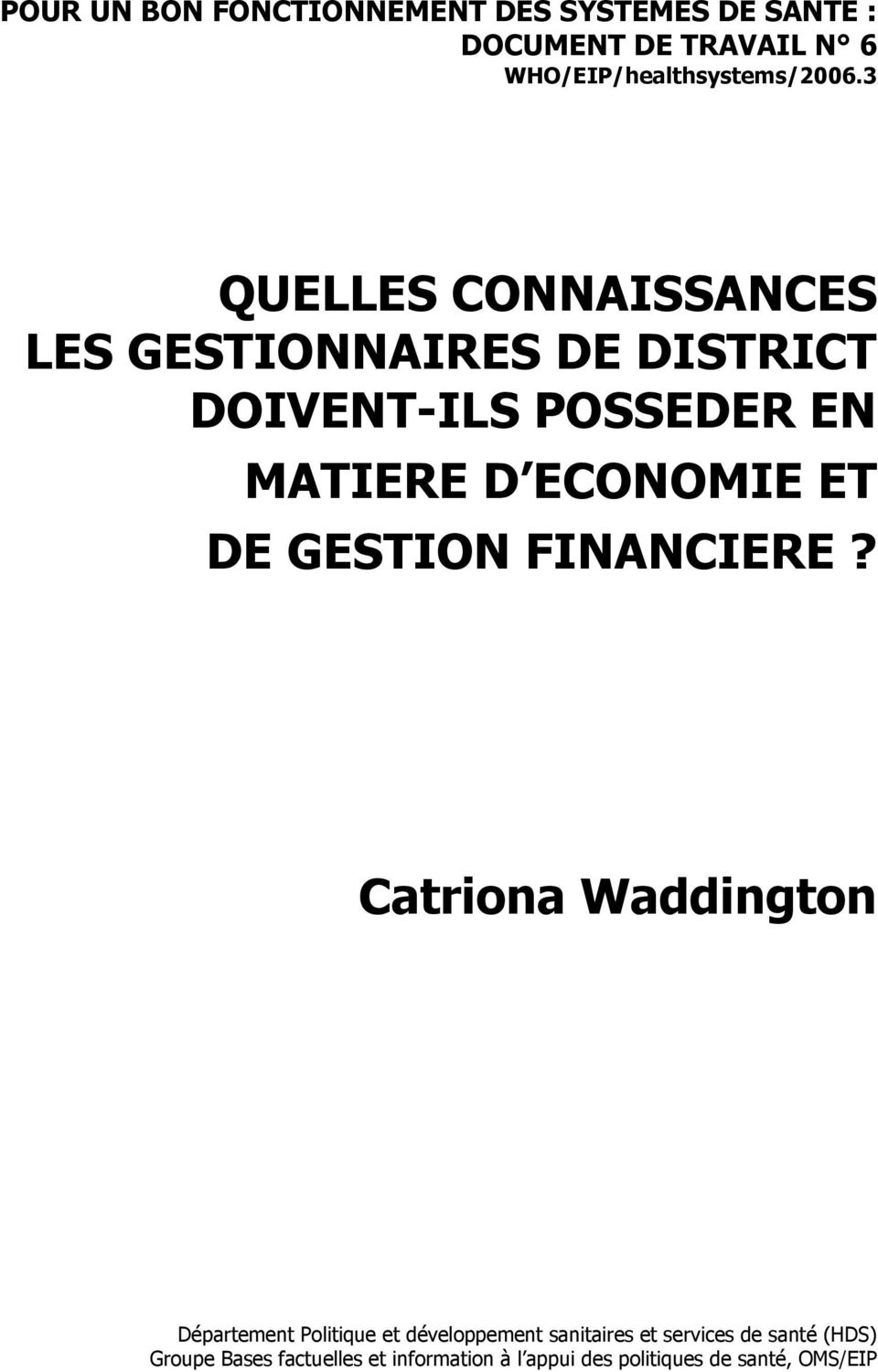 ECONOMIE ET DE GESTION FINANCIERE?