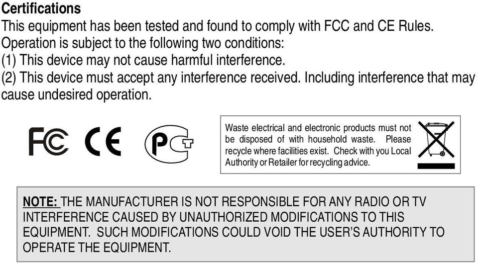 Including interference that may cause undesired operation. Waste electrical and electronic products must not be disposed of with household waste.
