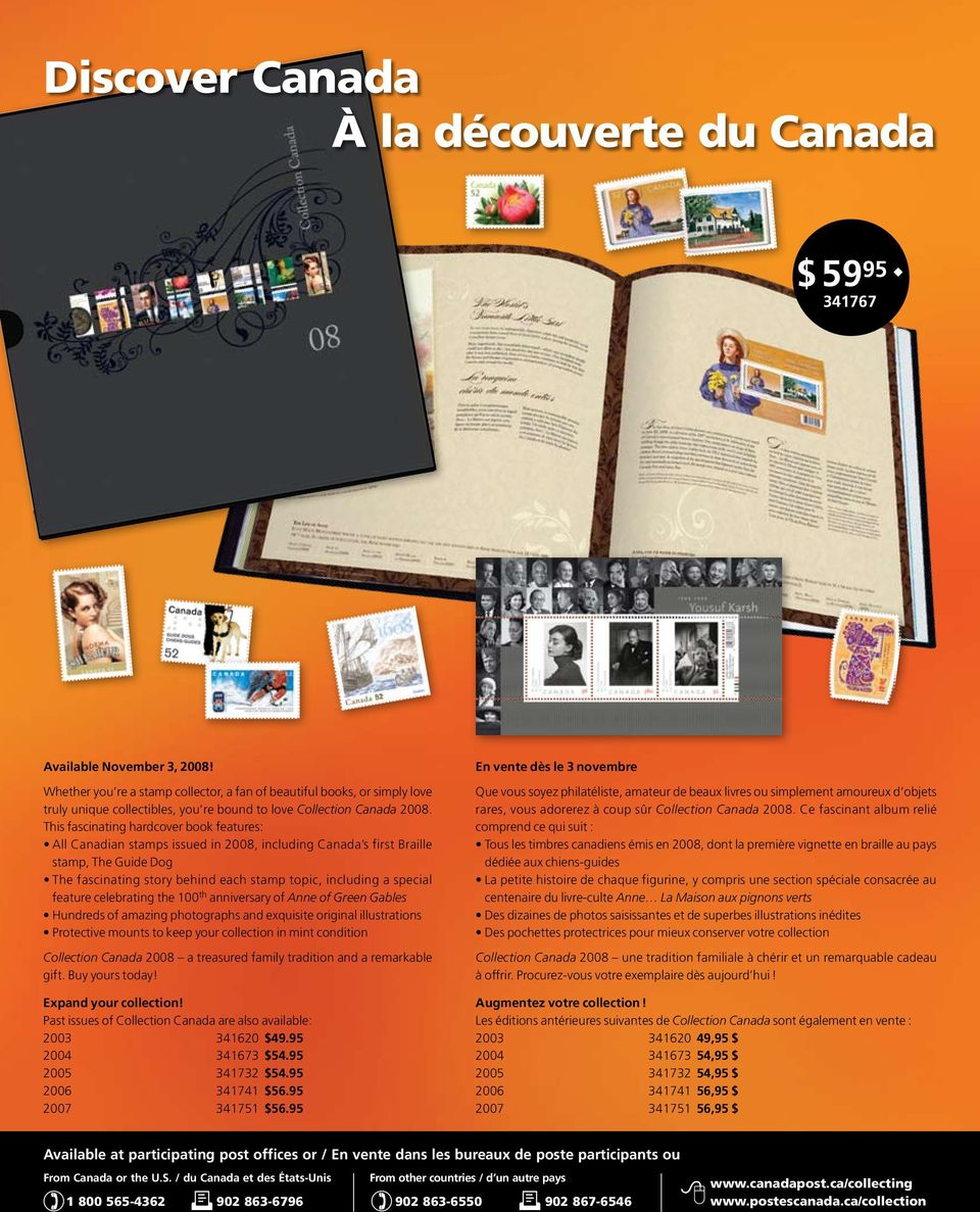 This fascinating hardcover book features: All Canadian stamps issued in 2008, including Canada s first Braille stamp, The Guide Dog The fascinating story behind each stamp topic, including a special