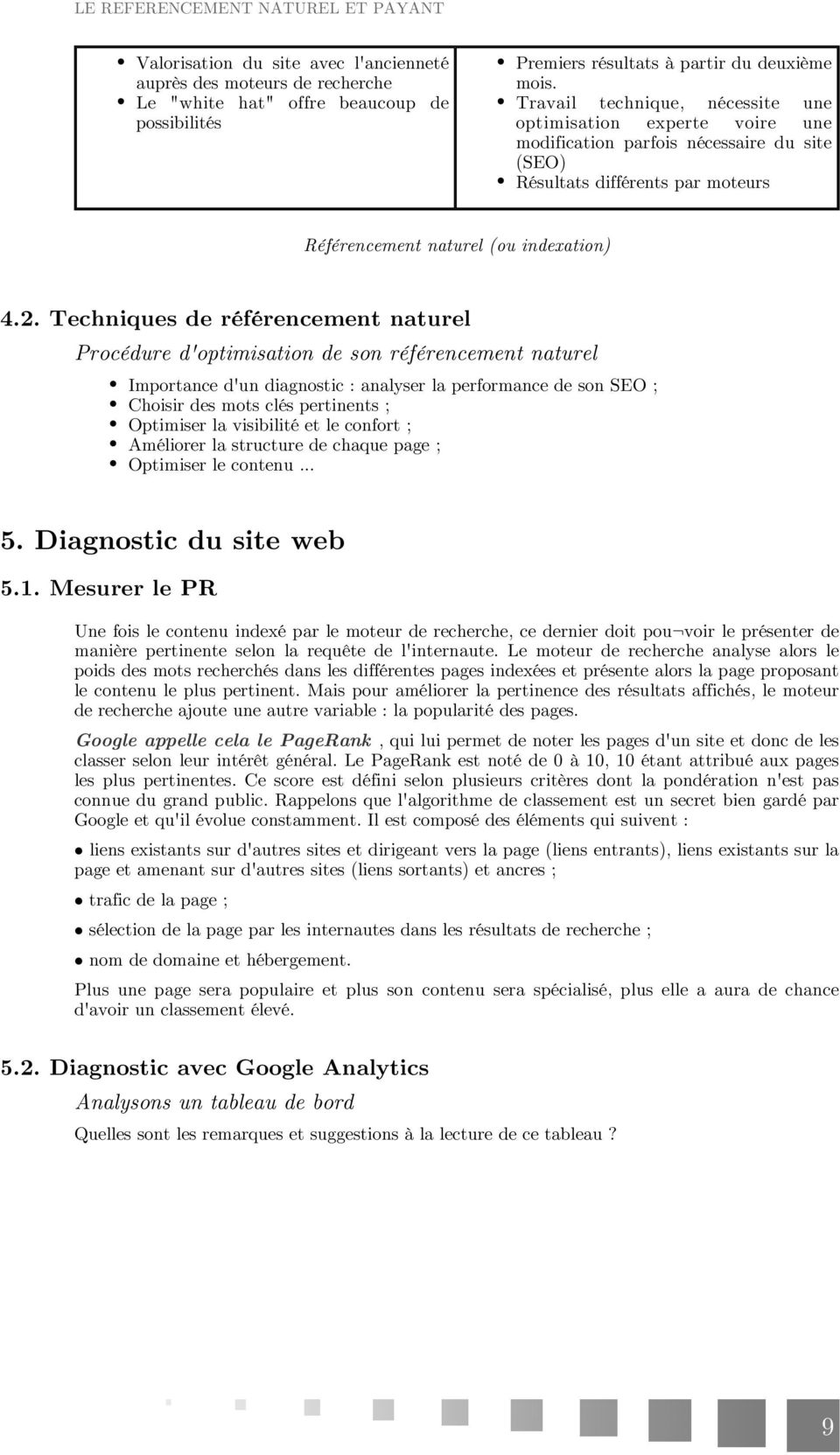 Techniques de référencement naturel Procédure d'optimisation de son référencement naturel Importance d'un diagnostic : analyser la performance de son SEO ; Choisir des mots clés pertinents ;