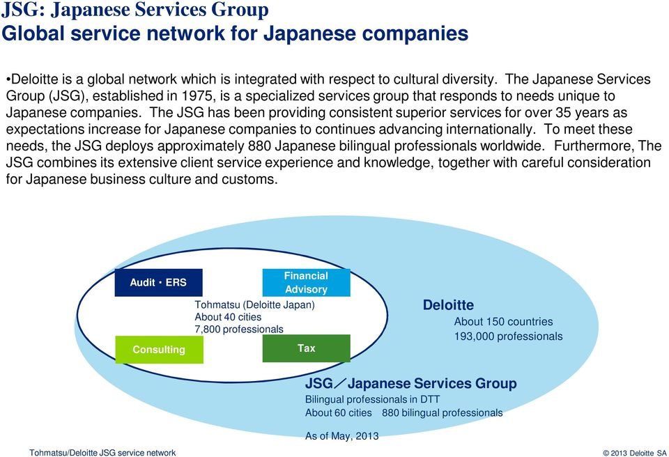 The JSG has been providing consistent superior services for over 35 years as expectations increase for Japanese companies to continues advancing internationally.