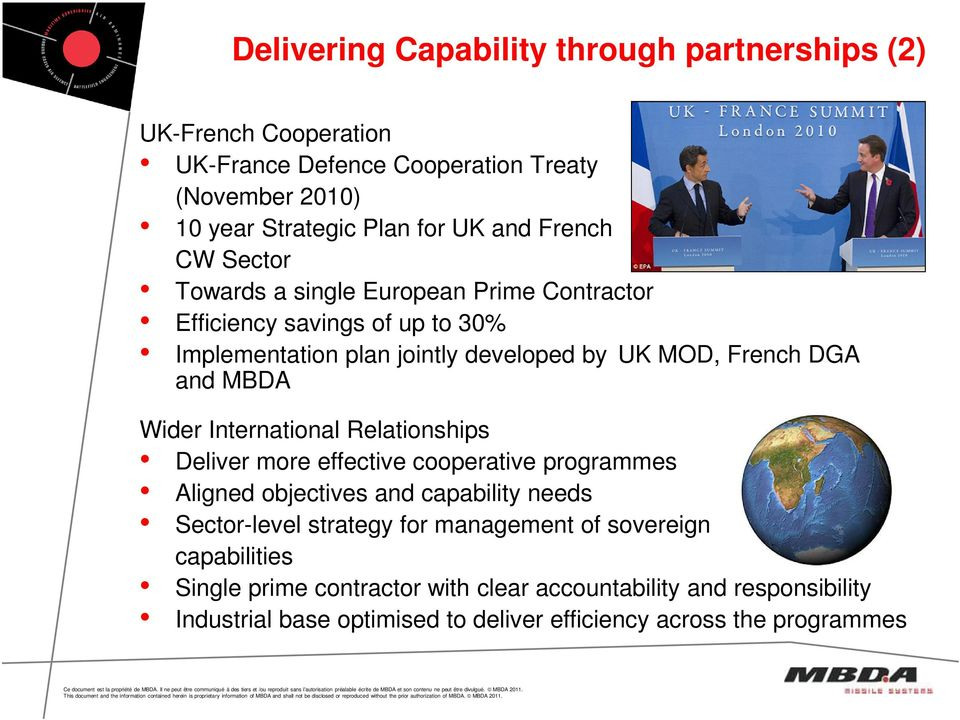 MBDA Wider International Relationships Deliver more effective cooperative programmes Aligned objectives and capability needs Sector-level strategy for
