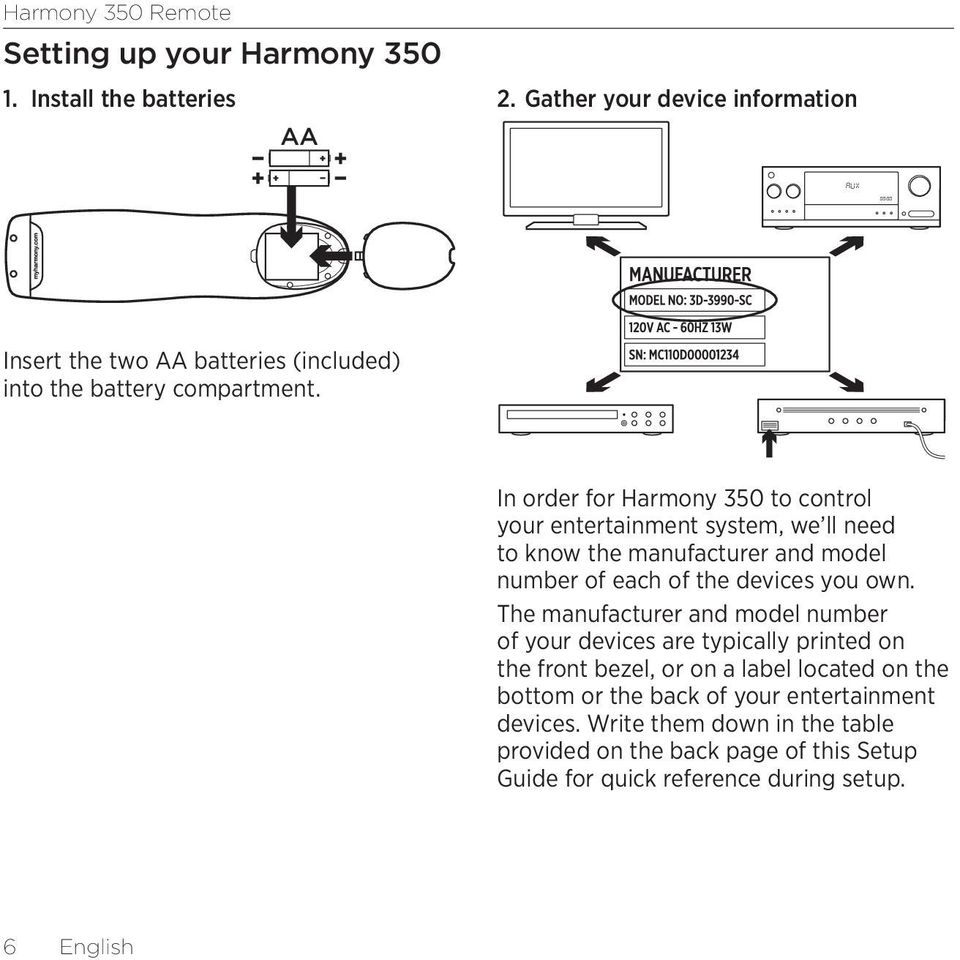 In order for Harmony 350 to control your entertainment system, we ll need to know the manufacturer and model number of each of the devices you own.