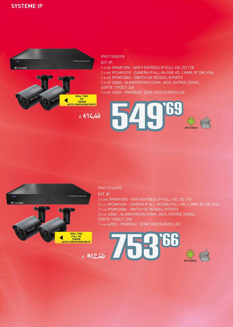 43502 - PANNEAU ZONE VIDEOSURVEILLEE 69 IPKIT101A/FR KIT IP: 1 x ref. IPNVR109A - NVR 9 ENTREES IP FULL-HD, DD 1TB 2 X ref. IPCAM102A - CAMERA IP ALL-IN-ONE FULL-HD, 4.