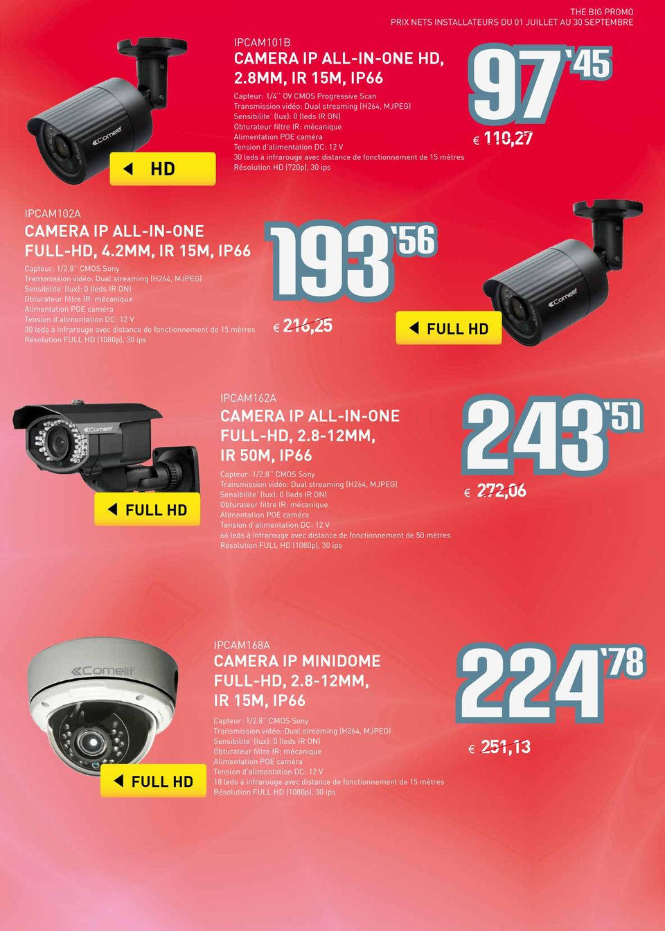 Résolution HD (720p), 30 ips 97 45 110,27 IPCAM102A CAMERA IP ALL-IN-ONE FULL-HD, 4.2MM, IR 15M, IP66 Capteur: 1/2.