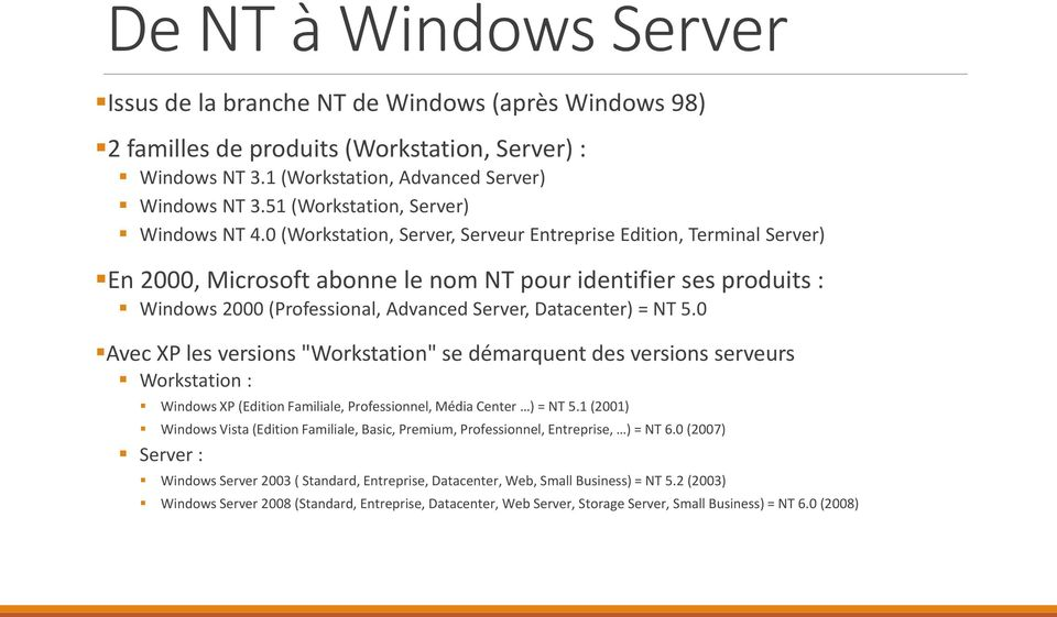 0 (Workstation, Server, Serveur Entreprise Edition, Terminal Server) En 2000, Microsoft abonne le nom NT pour identifier ses produits : Windows 2000 (Professional, Advanced Server, Datacenter) = NT 5.