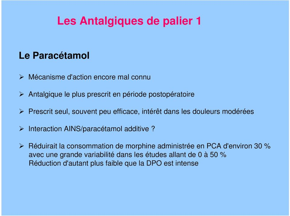 Interaction AINS/paracétamol additive?