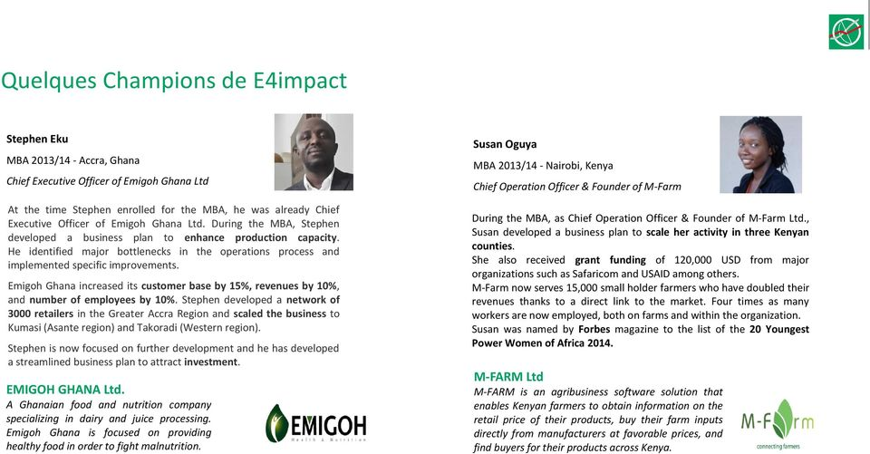 Emigoh Ghana increased its customer base by 15%, revenues by 10%, and number of employees by 10%.