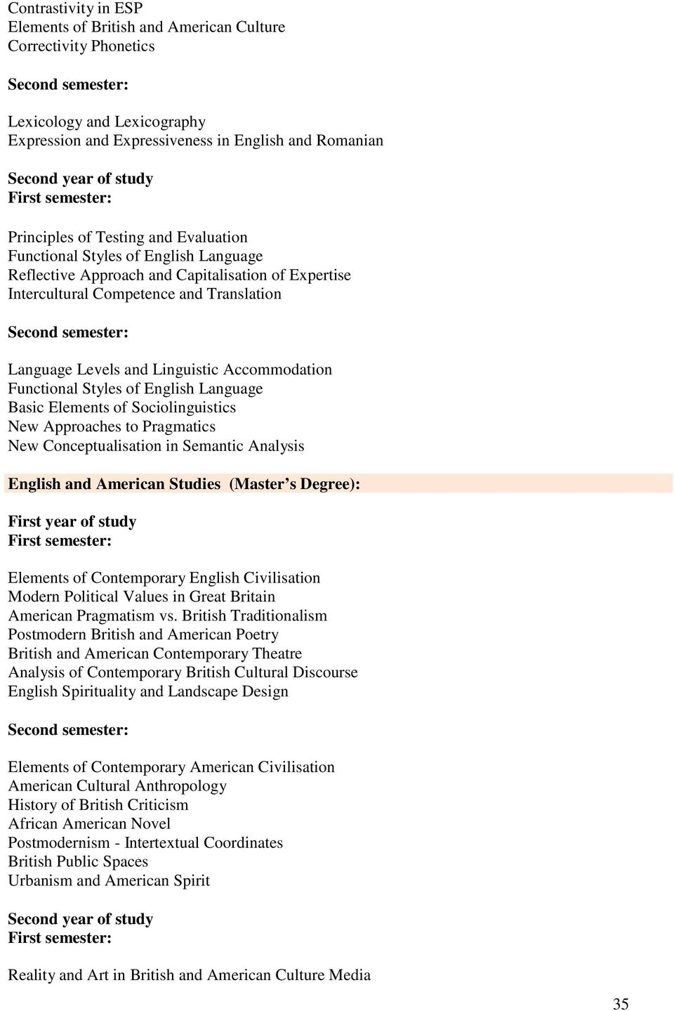 Styles of English Language Basic Elements of Sociolinguistics New Approaches to Pragmatics New Conceptualisation in Semantic Analysis English and American Studies (Master s Degree): Elements of