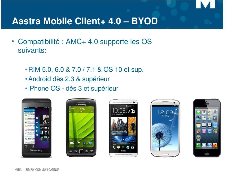 0 supporte les OS suivants: RIM 5.0, 6.0 & 7.