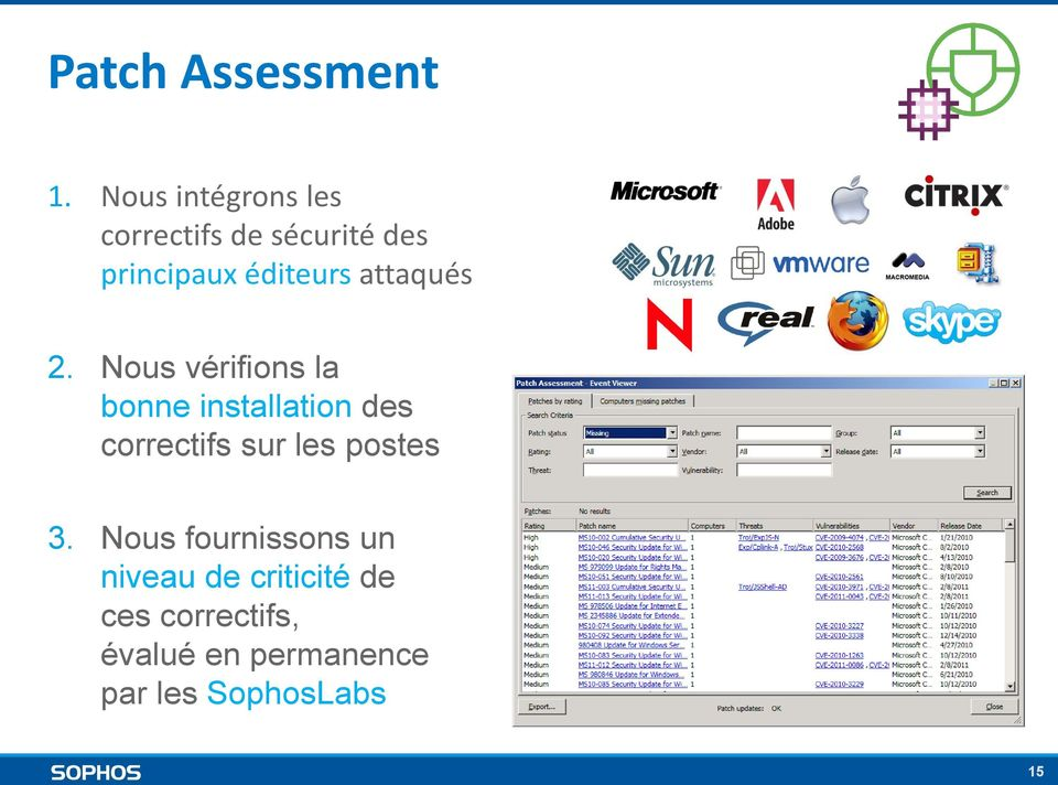 Nous vérifions la bonne installation des correctifs sur les postes 81 Identities for third party products such as