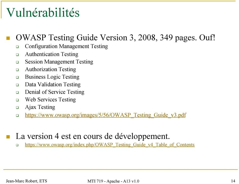 Data Validation Testing Denial of Service Testing Web Services Testing Ajax Testing https://www.owasp.
