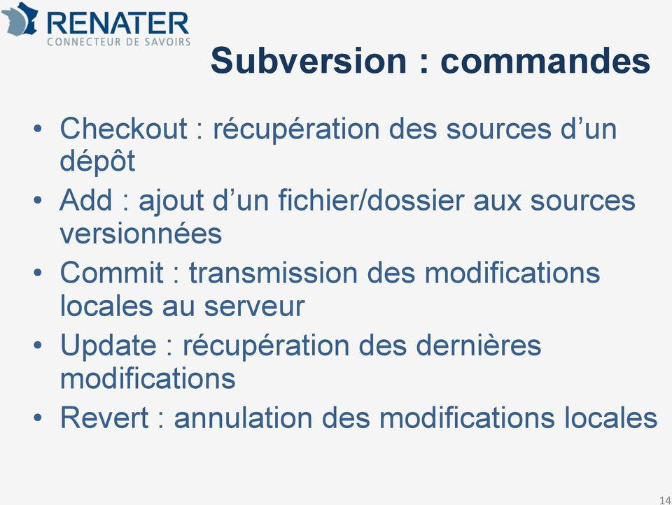 transmission des modifications locales au serveur Update :