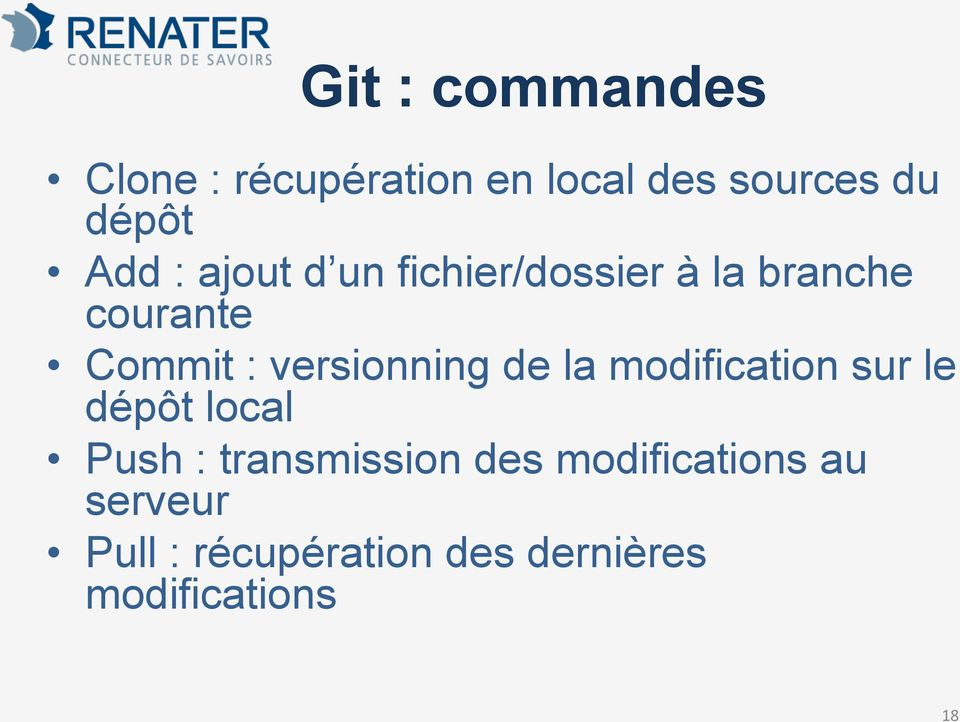 versionning de la modification sur le dépôt local Push : transmission