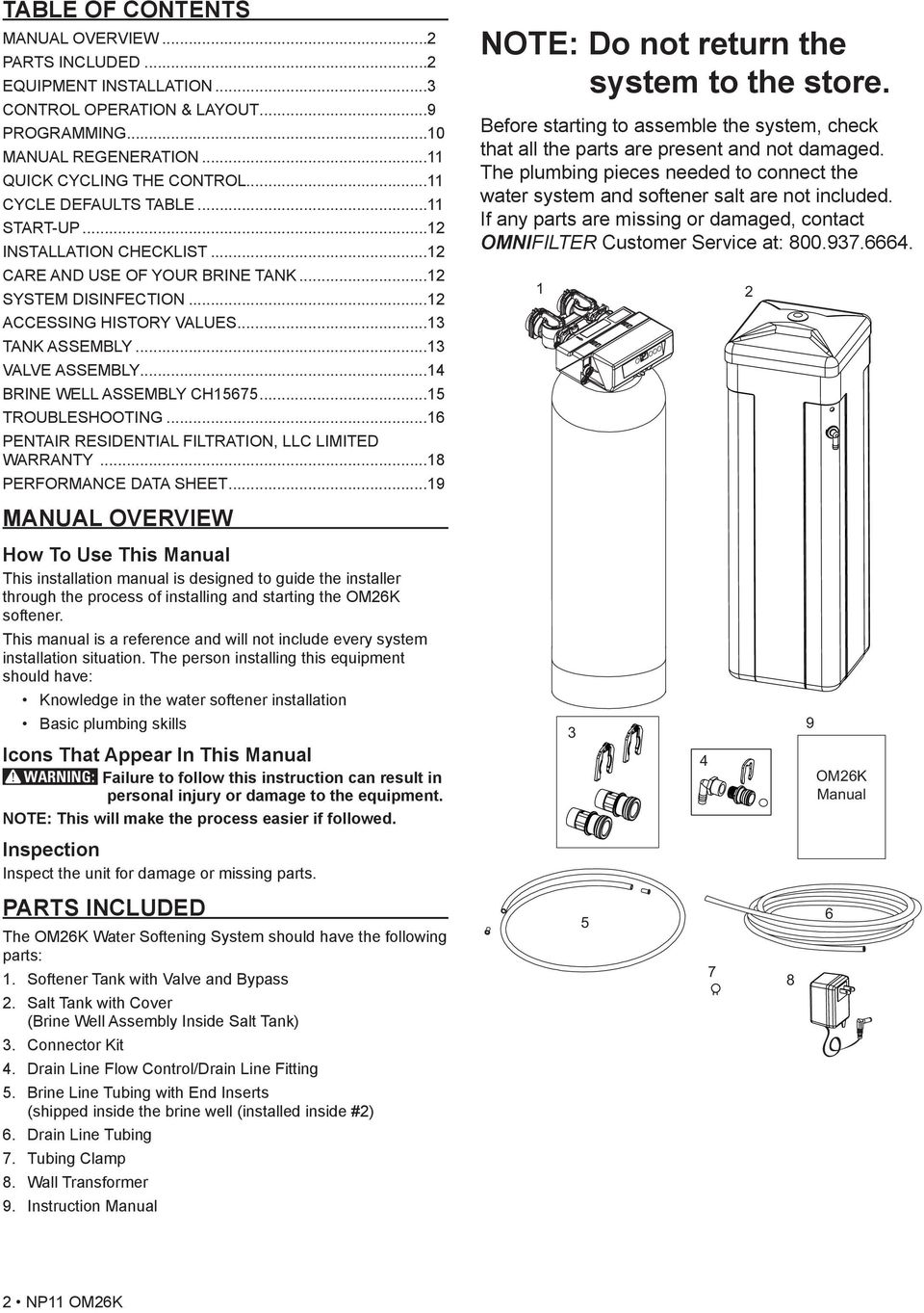 ..14 BRINE WELL ASSEMBLY CH15675...15 TROUBLESHOOTING...16 PENTAIR RESIDENTIAL FILTRATION, LLC LIMITED WARRANTY...18 PERFORMANCE DATA SHEET.