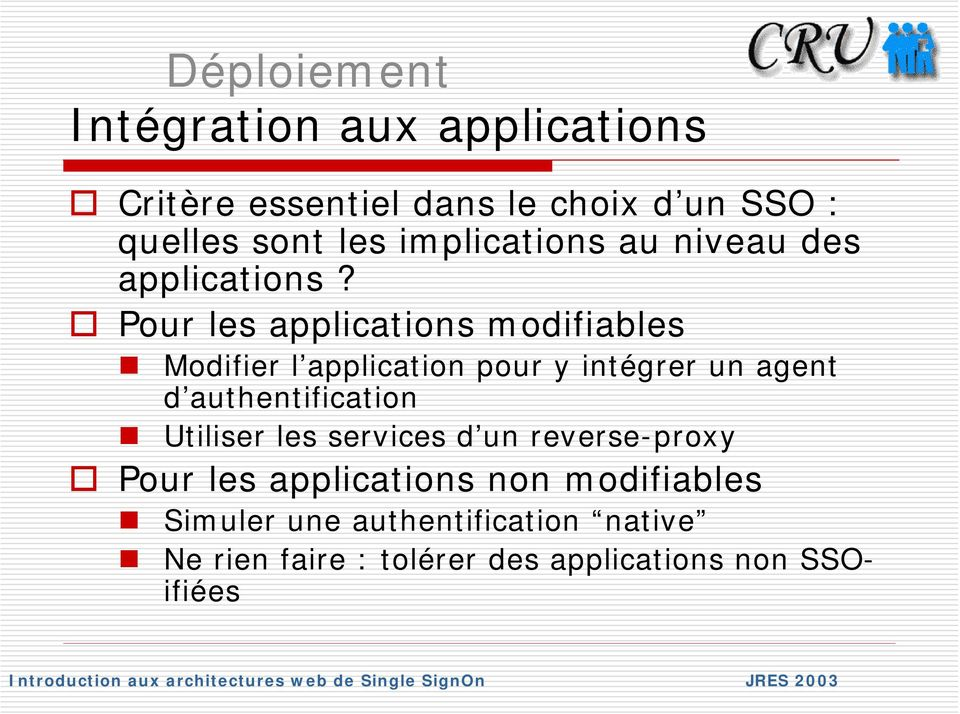 Pour les applications modifiables Modifier l application pour y intégrer un agent d authentification