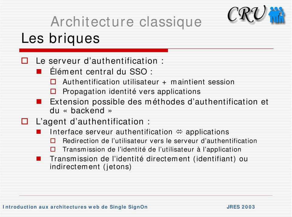d authentification : Interface serveur authentification applications Redirection de l utilisateur vers le serveur d