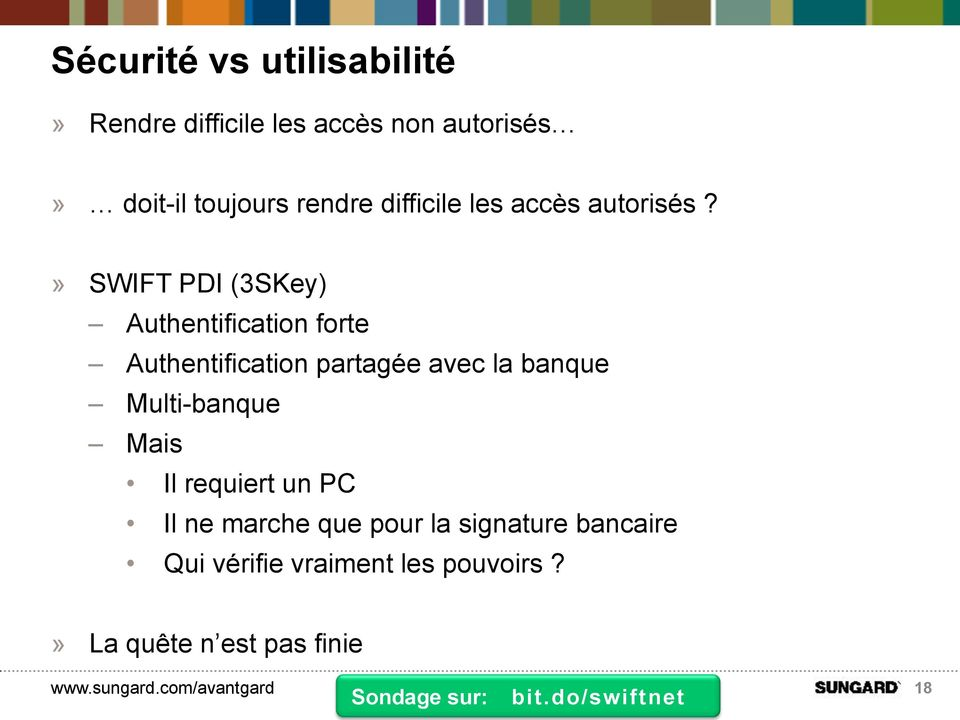 » SWIFT PDI (3SKey) Authentification forte Authentification partagée avec la banque